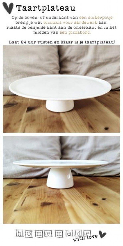 Homemade with love: Taartplateau Pizzabord, suikerpotje en aardewerk-lijm.