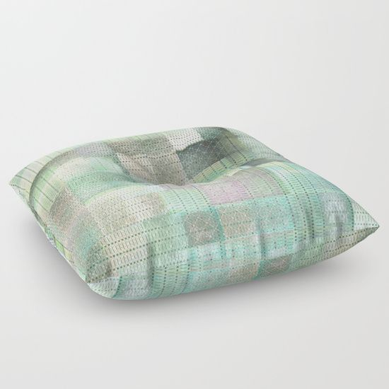 #floorpillow #turquoise #green #grapicdesign #checks #geometric #pattern #designerpillow #piaschneider #society6 #homedecor. Unique checked design by Pia Schneider | atelier COLOUR-VISION<br/> ©7-2017.