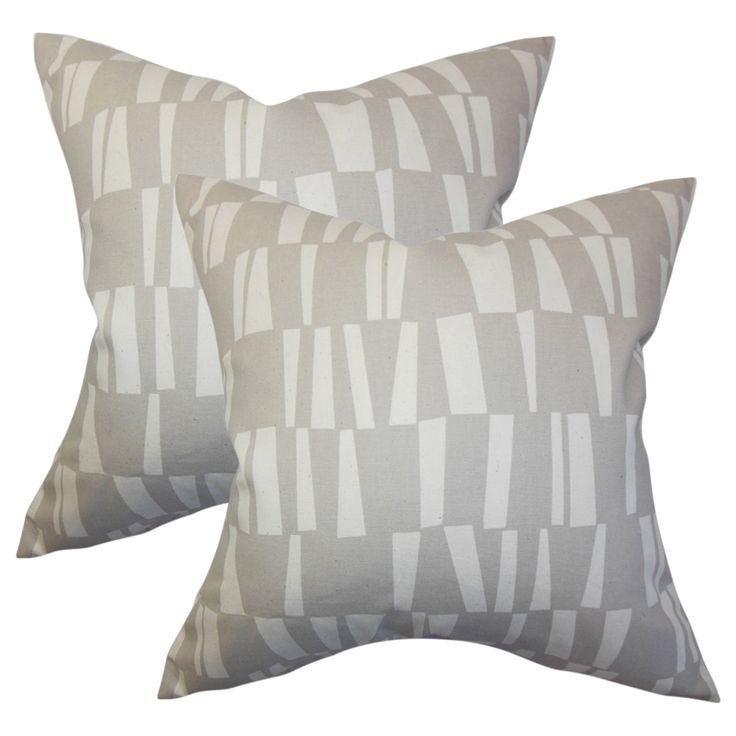 Set of 2 Iker Geometric Throw Pillows in Gray