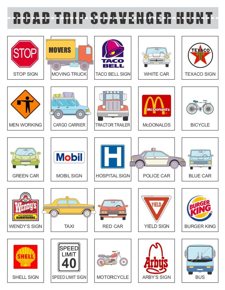 this printable road trip scavenger hunt game is the perfect way to get the kids to put down the electronic gadgets while on long road trips