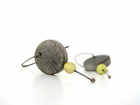 Grey and yellow  green modern clay hoop by AntigoniCreations