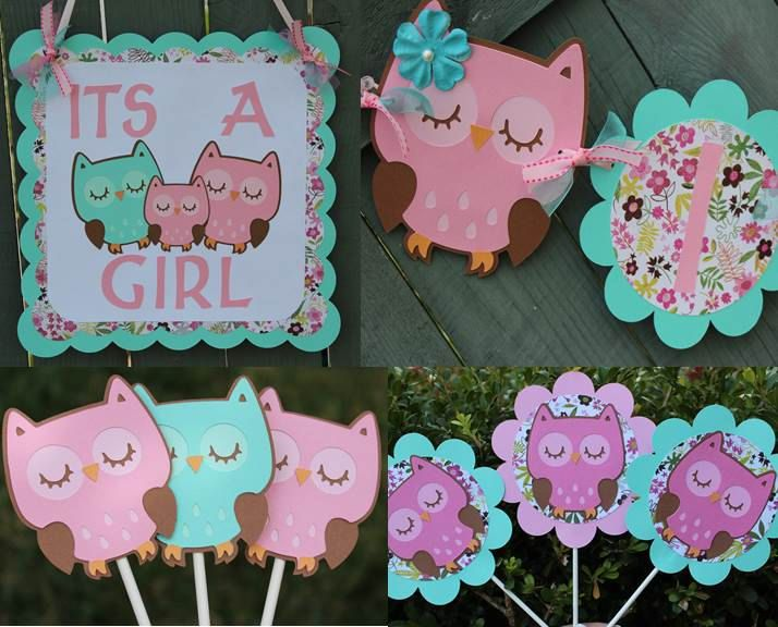 Pink and aqua owl themed its a girl baby shower by for Baby shower decoration themes for girls