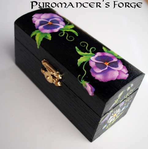 Handcrafted Violet Decorated Black Wooden Trinket Box from Pyromancers Forge
