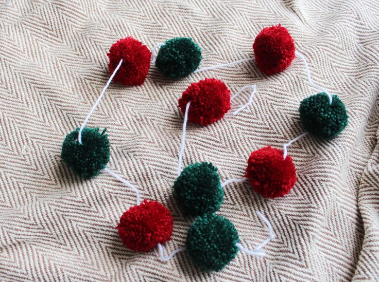 christmas pom pom green red yarn handmade etsy garland ella scribbles