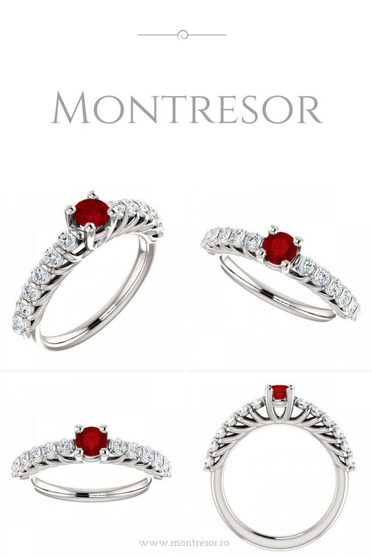 Inel din aur alb cu rubin si diamante