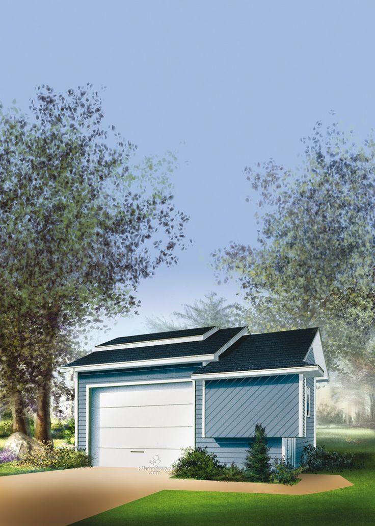 Avec ses jeux de toitures, sa façade en porte-à-faux et son style unique, ce garage se démarquera tout en vous permettant de ranger vos outils et de garer votre voiture. Il comprend une porte de garage à l'avant, ainsi qu'une porte d'entrée et une fenêtre sur le côté droit.