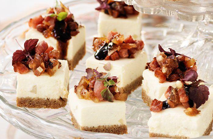 Jordärtskockscheesecake med bacon och dadelkrisp