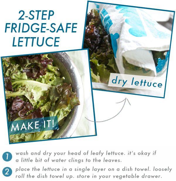 How to Keep Lettuce Crisp All WeekStores Lettuce, Stores Fresh, Lettuce Crisps, Lettuce Fresh, Makeit Dry Lettuce, Fresh Lettuce, Fridge Saf Lettuce, Kitchens Cooking, Step Fridge Saf