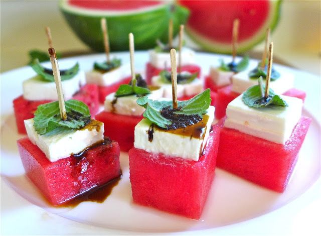 Watermelon & Feta Bites w/Balsamic Drizzle