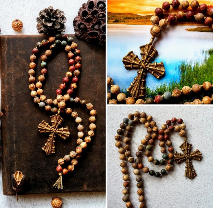 Brass Cross  Christian Prayer Beads, Picture Jasper Prayer Beads, Red Creek Jasper Prayer Beads, Seventy Times Seven Prayer Beads, Rosary by MysticKeyMeditations on Etsy