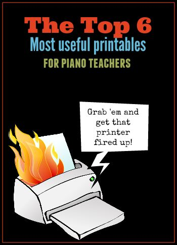 These 6 Piano Printables get a daily workout in my studio...and you can have them too... for free! #ItsRainingPianoPrintables #FreebieMania #PrinterOnFire #PianoFreebies