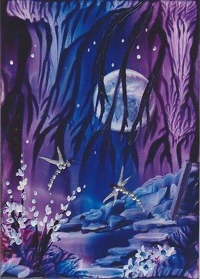 """Encaustic Wax Aceo Card  """" Moonlight Dragonflies 3 """" Original J.E.Green"""