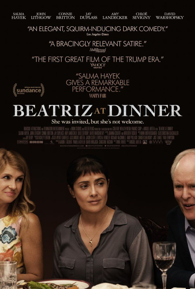Salma Hayek, John Lithgow, and Connie Britton in Beatriz at Dinner (2017)