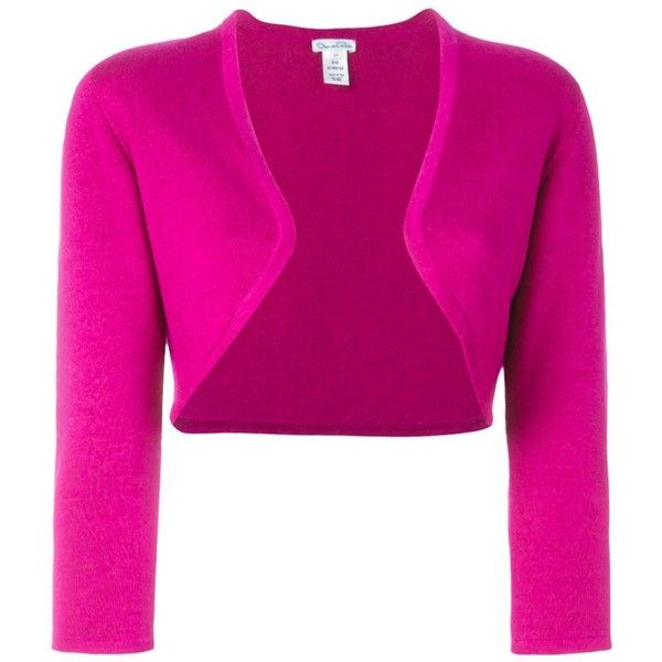 Oscar de la Renta bolero cropped cardigan ($1,035) ❤ liked on Polyvore featuring tops, cardigans, cropped cardigan, pink top, pink cardigan, oscar de la renta top and pink crop top