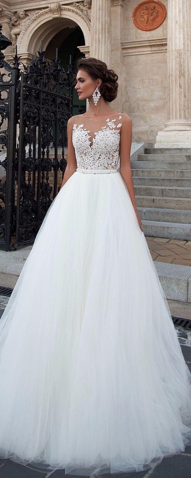 Vestido de noiva princesa com decote ilusão