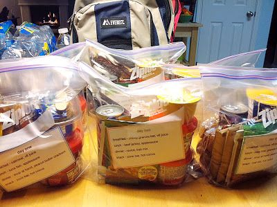 1 full day of emergency meals in a gallon bag...good idea!