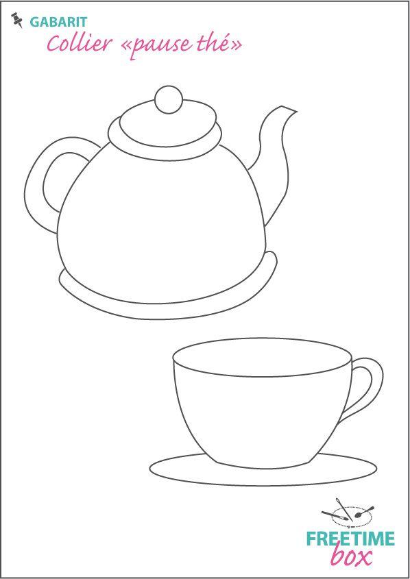 """Tuto DIY - Pas à pas - Gabarit collier """"pause thé"""" en plastique fou"""