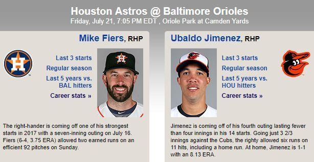 MLB 7월 21일 볼티모어 vs 휴스턴