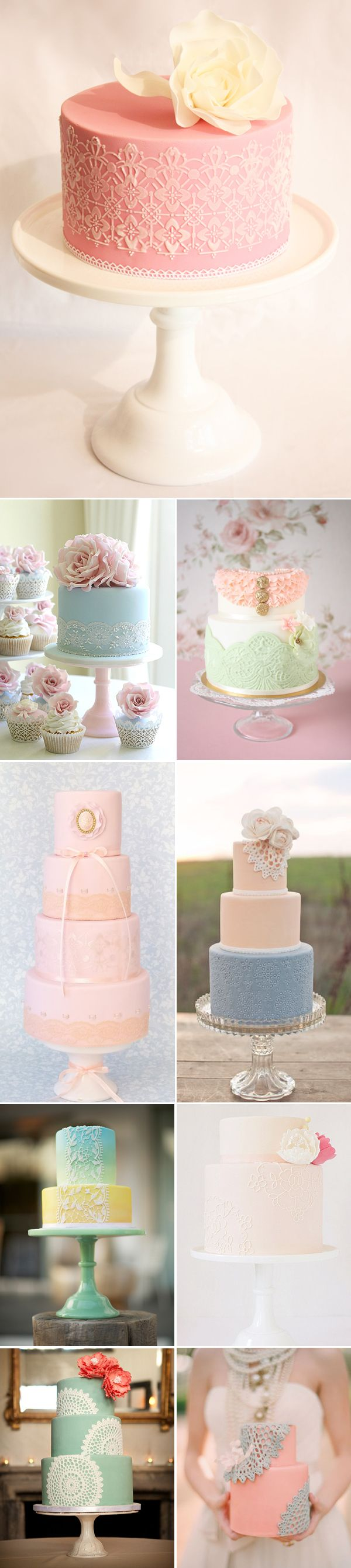 15 Romantic Laced Cakes - http://www.praisewedding.com/archives/2350