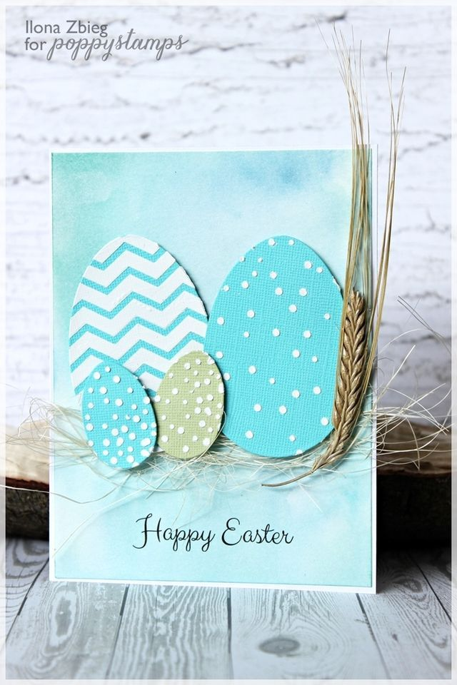 Easter card using Poppy Stamps egg dies and embossing paste