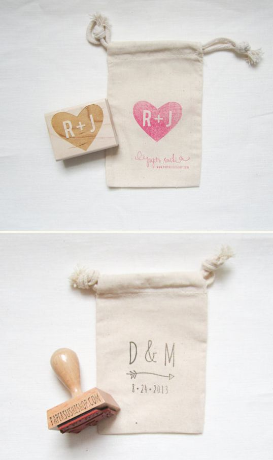 Custom Stamps for DIY Wedding Projects Place favors inside a muslin favor bag, stamped with your initials.