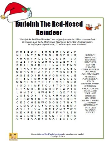 Rudolph The Red-Nosed Reindeer Word Search - printable Christmas puzzle