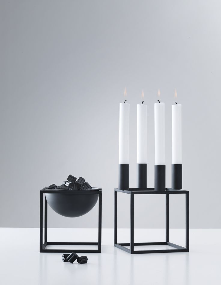 Black Kubus 4 Candle Holder and Kubus Bowl by Lassen.
