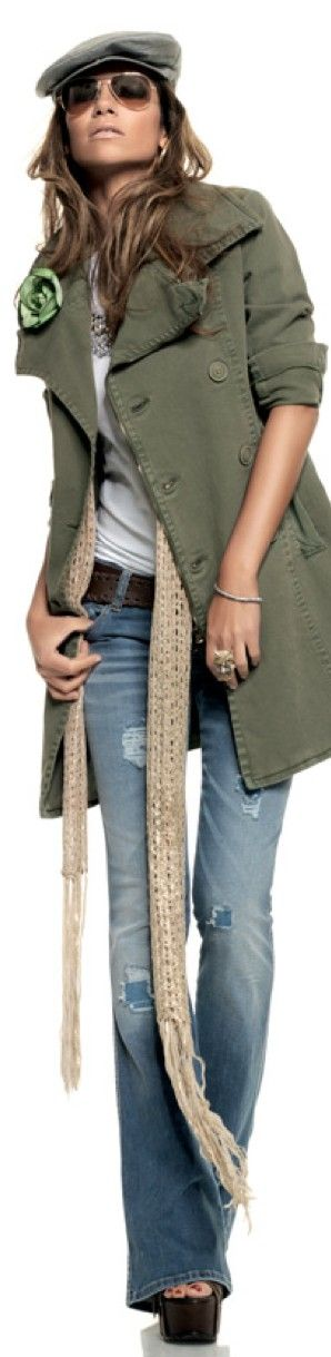 denim olive green double breasted military style #UNIQUE_WOMENS_FASHION