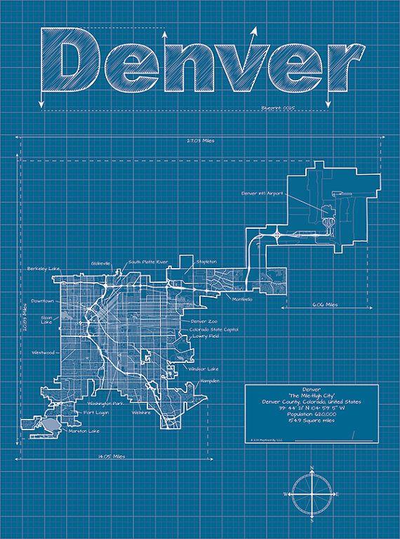 26 best blueprint images on pinterest boy room boy rooms and denver artistic blueprint map malvernweather Gallery
