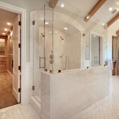 Walk in shower, half glass/half tile.