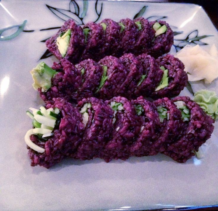 Forbidden Black Rice Sushi. a serving of purple rice contains more antioxidants than blueberries.