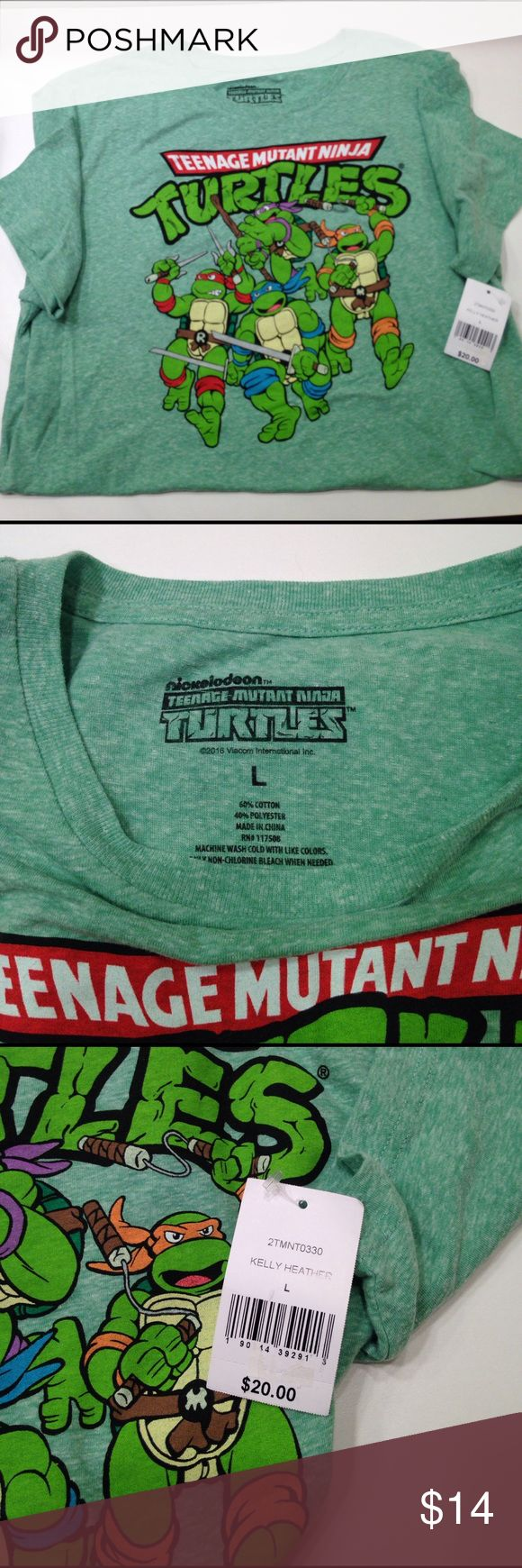 "NWT Nickelodeon Ninja Turtles t-shirt NWT Nickelodeon Ninja Turtles t-shirt, Kelly Heather, size L unisex, 29"" back length neck to hem, pit to pit flat lay 22"" Nickelodeon Shirts Tees - Short Sleeve"