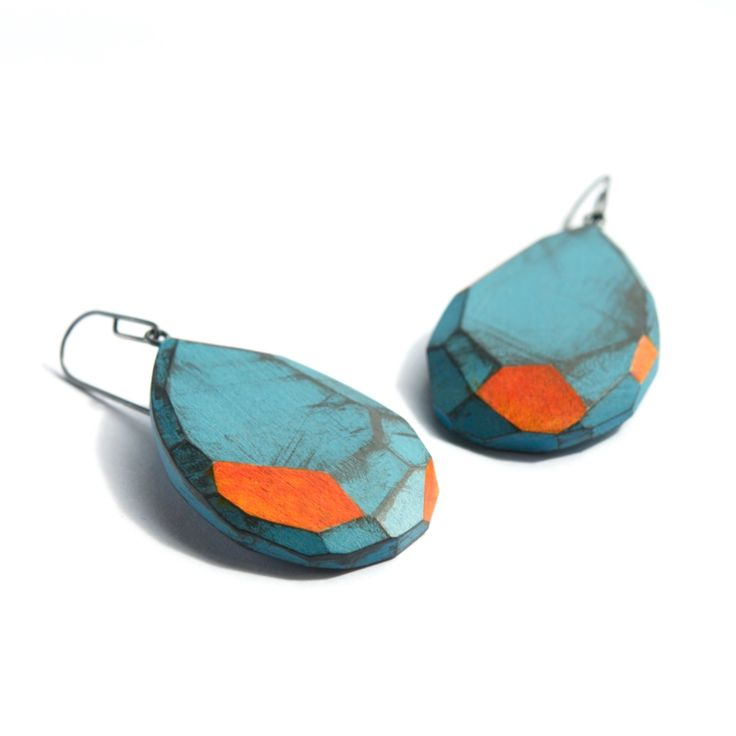 Julia Turner Earrings, 2013. Maple, oxidized sterling silver, stain. 1 x 1 1/2 x…