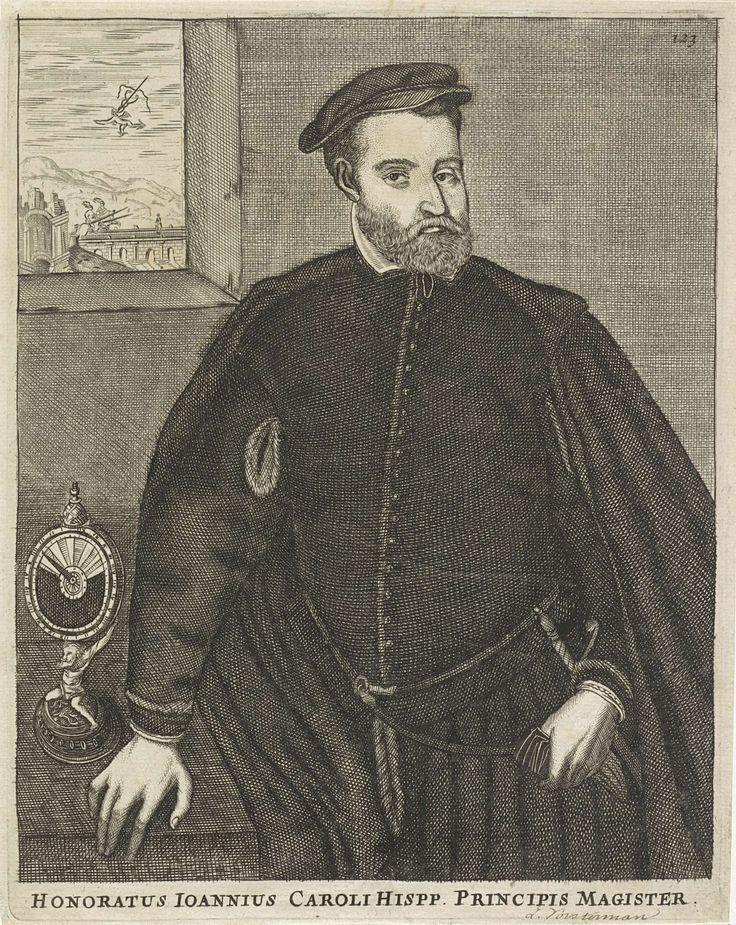 anoniem   Portret van (mogelijk) Johannes Carolus, possibly Lucas Vorsterman (II), 1651 - 1652   Portret van (mogelijk) Johannes Carolus, Zuid-Nederlands rechtsgeleerde en schrijver. Op de achtergrond, door een doorkijk, Mercurius. Naast hem op tafel een instrument. Rechtsboven: 123.
