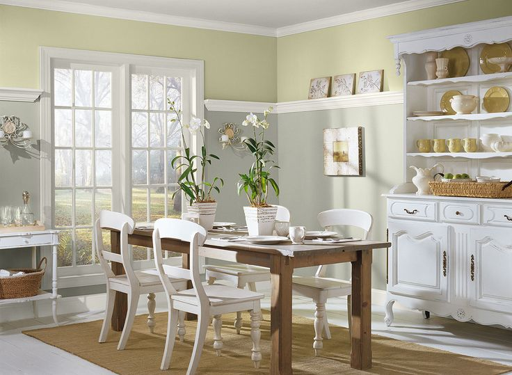 Breezy Gray Dining Room Lower Wall Color Horizon