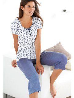 Pijama manga corta de mujer con pantalón corsario