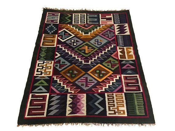 Vintage tissé Textile tapis bolivien mur pendaison par studio180