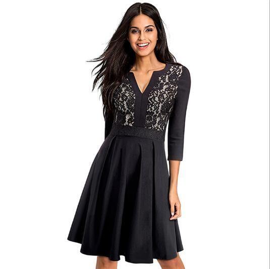 Berydress Elegant Women High Quality 3 4 Sleeve Black Swing Dress V-neck  Lace Patchwork Knee-Length A-Line Dresses Vestidos 8fca319a3d