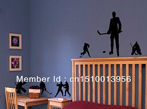 Les joueurs de hockey wall silhouettes, les garçons des joueurs de hockey les autocollants,les garçons au décor de la pièce: Price:Élément…