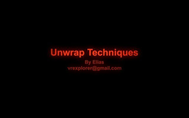 Unwrap Techniques  Tutorial Sessions: 1. Standard Geometry 2. Profile & Arch-type Geometry 3. Hardsurface Models 4. Organic Models . Since it has been almost hard for industry users to find an integrated video covering all aspects of UV Unwrapping then I tried to gather all different unwrap techniques in one video. Thank, Elias.  Contact: vrexplorer@gmail.com balestih.wordpress.com