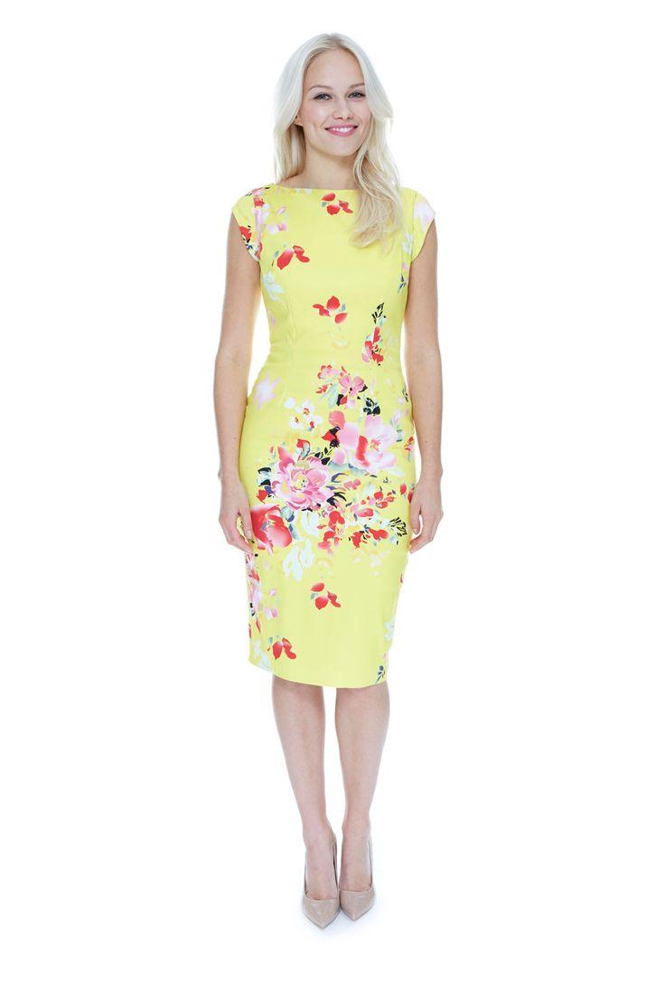 Classic Shift Lemon Seville Dress | The Pretty Dress Company