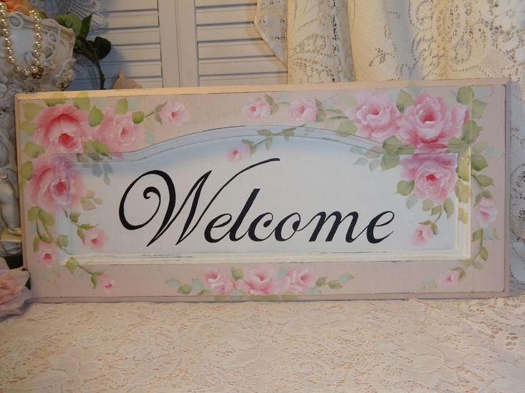 ROMANTIC WELCOME SIGN hp roses chic shabby vintage cottage hand painted pink art #VINTAGECABINETDOOR #Cottage