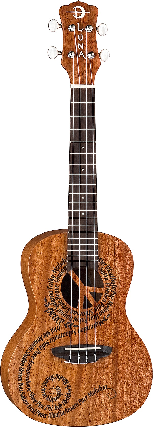 "Peace Uke - laser etched words for ""Peace"" in 21 different languages Laser etched  21"" Concert Top: Select Mahogany Back/Sides: Mahogany Neck: Nato/ Mahogany Fretboard/Bridge: Rosewood Open Style Tuners Aquila Strings Preamp: none Scale:15"" Nut: 1 5⁄16"" Finish: Satin 24"" x 8 1⁄8"" x 2 3⁄4"" Gig bag included"