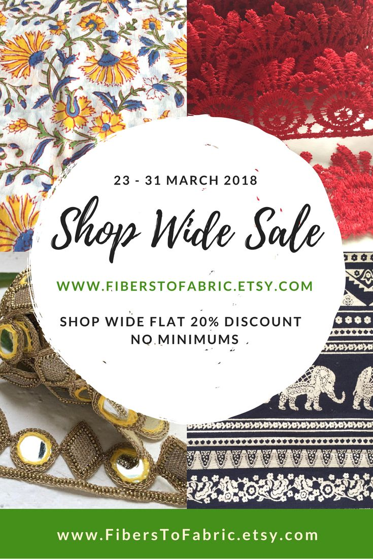 Shop wide 20 percent discount. No conditions apply. Offer Valid from 23 through 31 March 2018 www.FiberstoFabric.etsy.com