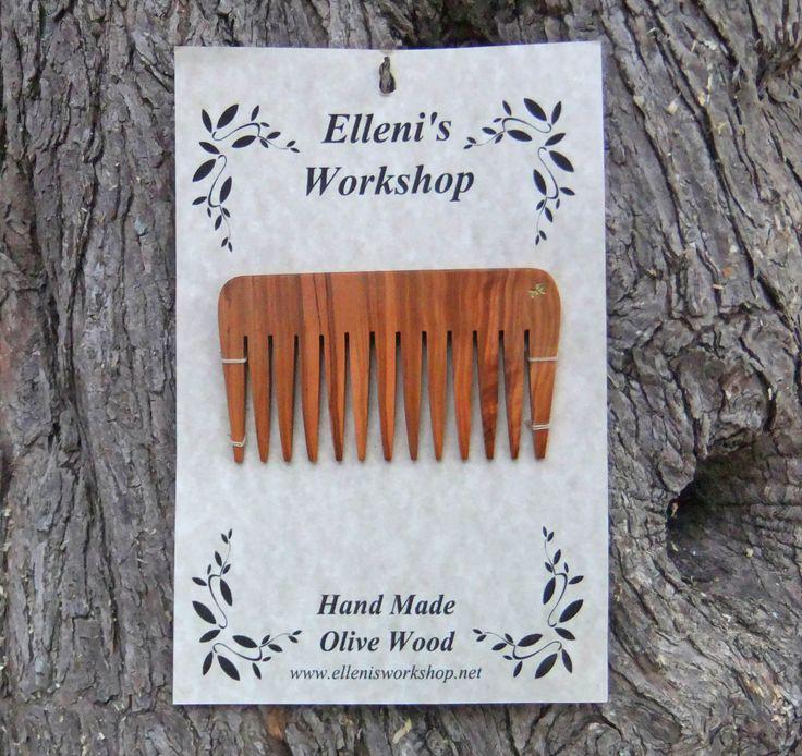 Olive Wood hair comb, hand carved from olive wood by ellenisworkshop on Etsy