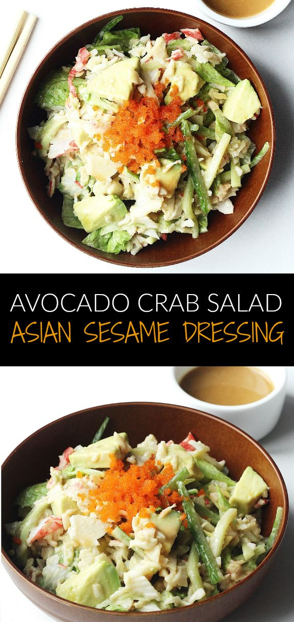 Easy and delicious avocado crab salad with homemade Asian sesame dressing! Great quick Asian salad recipe with flavourful dressing and amazing textures!
