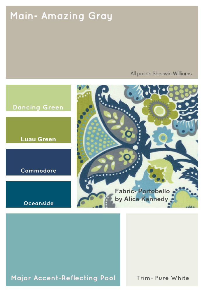 Navy Gray Creme And Green