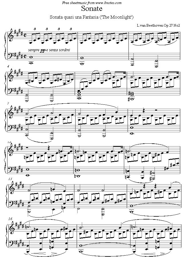 Beethoven - Moonlight Sonata (1st mvt) sheet music for Piano1/4