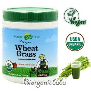Amazing Grass Bautura din iarba de grau, 30 portii, 70% ingrediente organice, Raw Vegan, 240 g
