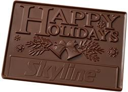 2lb Chocolate Bar | Our 2 pound 3D bar makes a stunning gift. Use our stock Happy Holidays or Season's Greetings designs and place your logo in the rectangle as shown. Each bar is packaged in a gift box with a coordinating bow and optional foil stamped logo on the lid.